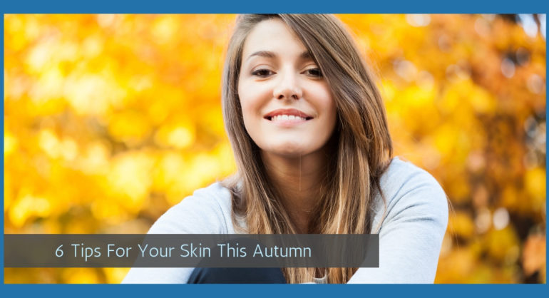 healthy looking woman with glowing well hydrated skin and shiny hair in autumn