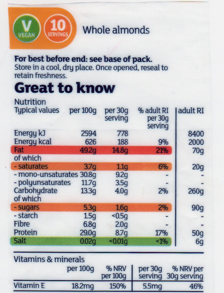 traffic light label example on Whole almonds packet sugar, salt, fat